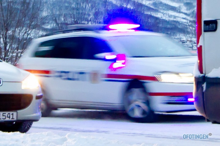 Politiutrykning i Narvik. Arkivfoto: Robin Lund