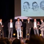 NARVIK, 29. APRIL 2013 - Arrangører, konferansier og foredragsholdere takker for seg etter næringskonferansen «Påfyll», som gikk av stabelen på Folkets Hus. Petter Northug, PG Wettsjö og Eirik Frantzen var trekkplastre. (Foto: Robin Lund .no)