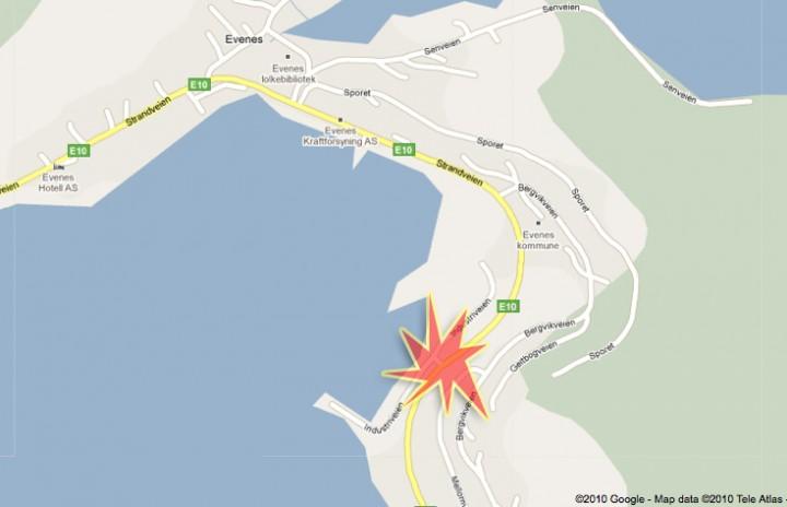Her skjedde sammenstøtet. Illustrasjonsmontasje: Google Maps/Ofotingen