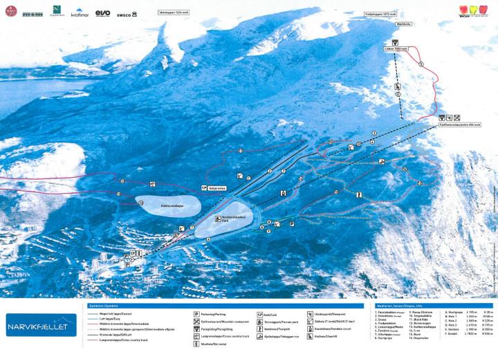 Narvikfjellet løypekart